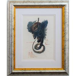 "Salvador Dali- Original Color Woodcut on B.F.K. Rives Paper ""Hell Canto 27"""
