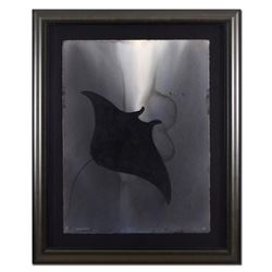 """Wyland, """"Manta"""" Framed Original Watercolor Painting, Hand Signed with Certificate of Authenticity."""