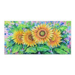 "Alexander Antanenka, ""Spectacular Sunflowers"" Original Oil Painting on Canvas (48"" x 24""), Hand Sign"