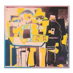 """Ringo, """"Three Musicians (Picasso Homage)"""" One-of-a-Kind Hand-Pulled Silkscreen and Mixed Media Paint"""