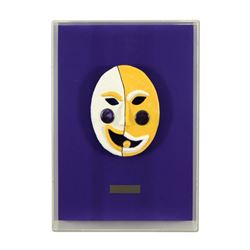 "George Marlowe ""Lakers Harlequin"" Framed Original Hand Made Ceramic Mask Sculpture; COA"