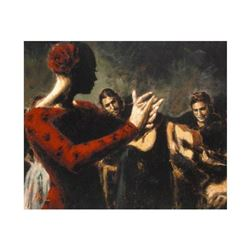 "Fabian Perez, ""Study Tablado Flamenco V"" Hand Textured Limited Edition Giclee on Board. Hand Signed"