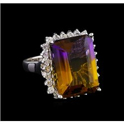 11.18 ctw Ametrine Quartz and Diamond Ring - 14KT White Gold