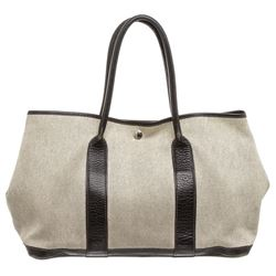 Hermes Beige Canvas Black Leather Medium Garden Party Tote Bag