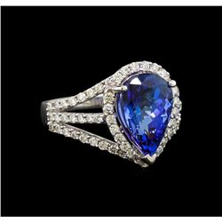 18KT White Gold 4.42 ctw Tanzanite and Diamond Ring