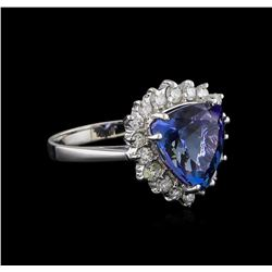 4.27 ctw Tanzanite and Diamond Ring - 14KT White Gold