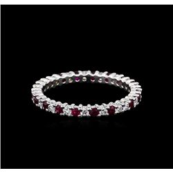 0.90 ctw Ruby and Diamond  Ring - 14KT White Gold