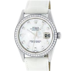 Rolex Mens Stainless Steel Mother Of Pearl Diamond 36MM Datejust Wristwatch With
