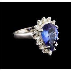 3.72 ctw Tanzanite and Diamond Ring - 14KT White Gold