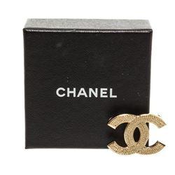 Chanel Gold Woven CC Logo Brooch