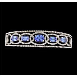 5.03 ctw Tanzanite and Diamond Bracelet - 14KT White Gold