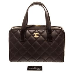 Chanel Dark Brown Quilted Leather Surpique Stitch Tote Bag