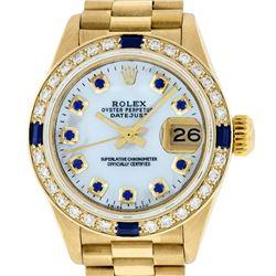 Rolex Ladies 18K Yellow Gold MOP Sapphire President Wristwatch With Rolex Box &