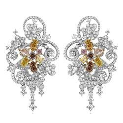 18k Three Tone Gold 5.63CTW Multicolor Dia, Pink Diamond and Diamond Earrings, (