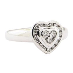 0.25 ctw Diamond Heart Shaped Motif Ring - 18KT White Gold