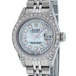 Rolex Ladies Stainless Steel 26MM MOP Diamond Lugs Datejust Wristwatch