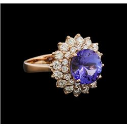 4.78 ctw Tanzanite and Diamond Ring - 14KT Rose Gold