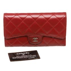 Chanel Deep Red Lambskin Leather Classic Long Flap Wallet