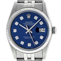 Rolex Mens Stainless Steel 36MM Blue Diamond Datejust Wristwatch