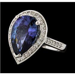 6.87 ctw Tanzanite and Diamond Ring - 14KT White Gold