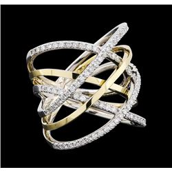 0.75 ctw Diamond Ring - 14KT White and Yellow Gold