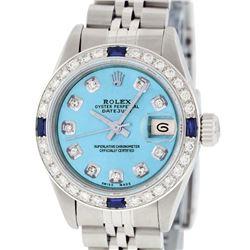 Rolex Ladies Stainless Steel Quickset Blue Diamond & Sapphire Wristwatch