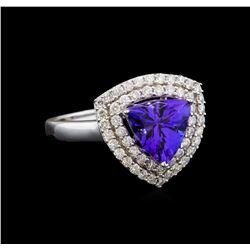 14KT White Gold 1.82 ctw Tanzanite and Diamond Ring