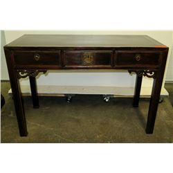 """Lacquered Qing Dynasty Circa 1880 Juwood 3-Drawer Desk, 46""""x 20.5""""x31"""" (Includes Certificate)"""