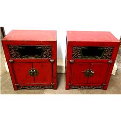 Qty 2 Red Lacquered 2-Door Wooden Oriental Cabinets (End Tables)