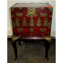 """Footed Vintage Asian Cabinet w/ Fold-Down Door, Drawer & Brass Accents 16""""W, 25"""" H"""