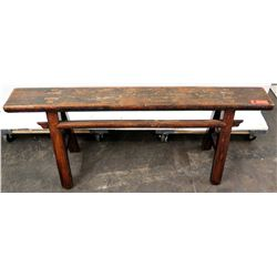 "Vintage Wooden Sawhorse Bench w/ Oriental Markings on Legs 50"" L, 21"" H"