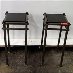 Qty 2 Modern Metal Stands w/ Black Stone Top (12  Dia x 30  H)