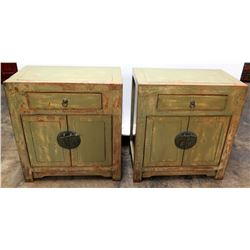 "Qty 2 Green Lacquered Wooden Oriental Cabinets (End Tables) 28"" H"