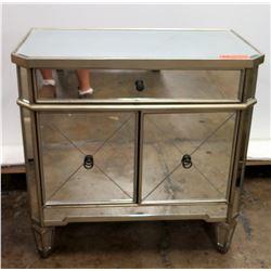 Mirrored 2-Door Cabinet  w/ Drawer