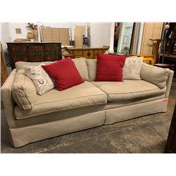 Beige Ralph Lauren Henredon Sofa & 3 Throw Pillows (2 brown cushions not included)