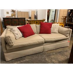 Beige Ralph Lauren Henredon Sofa & 3 Throw Pillows (2 brown cushions not included)