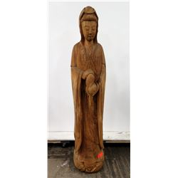 """Tall 60"""" Carved Wooden Buddha Statue (damage from right shoulder to forearm)"""