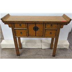 "Curved Wooden Asian Entry Table w/ 2 Door Cabinet & 4 Drawers 49"" x 15"" x 37"" Tall"