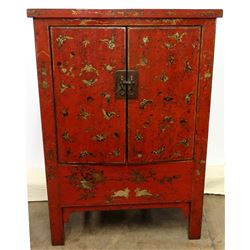Qing Dynasty Red Lacquered Chinese Elmwood Cabinet, Circa 1860 (Includes Certificate