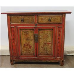 Qing Dynasty Elmwood Cabinet w/ Original Paintings, Circa 1850-1880 (Includes Certificate)