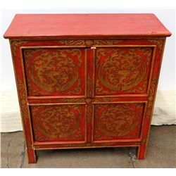 """Red 4-Door Oriental Wooden Cabinet w/ Gold-Tone Dragon Accents, 2 Shelves 25""""W x 28""""H"""