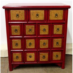 Nieman Marcus Red Wood Cabinet w/ 15 Tan Wood Pull Compartments 34  x 17  x 37