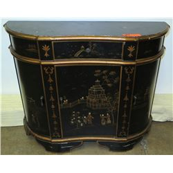 "Black Wooden Curved Sideboard Buffet / Gold Pagoda & 4 Doors 1 Drawer 31"" High"