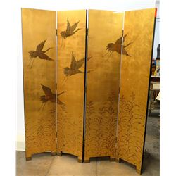 Reversible 4-Panel Lacquered Oriental Screen (Gold w/ Black Birds &  Black w/ Gold Bamboo)