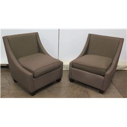 Qty 2 McCreary Modern, Inc. Brown Upholstered Chairs 26  Seat x 34  Tall