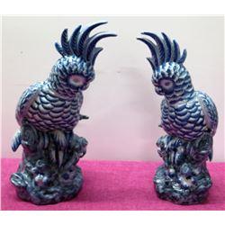 """Qty 2 Blue White Glazed Ceramic 17"""" Bird Figurines, Dated '95"""