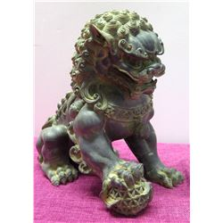 """Vintage Cast Resin Foo Dog Chinese Guardian Lion, 10"""" Tall"""