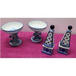 """Qty 2 Sets Decorative Blue & White Ceramic Accents - 2 Pedestal Bowls & 2 Towers 9"""" H"""