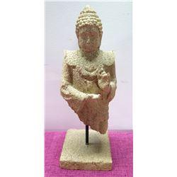 "Textured Stone-Look Buddha Statue on Pedestal Base, 14"" H"