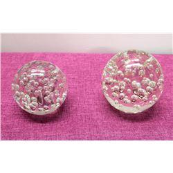 """Qty 2 Clear Glass Decorative Balls w/ Bubble Design - 4"""" & 5"""" Dia"""